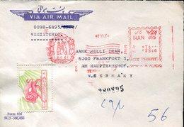 37086 Iran, Red Meter Freistempel Ema /tehran 1975  Bank Melli Iran, Cover Circuled To Germany - Iran