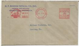 ESTADOS UNIDOS USA 1940 BENSON OPTICAL  MINNEAPOLIS AQUATENNIAL WATER FRANQUEO MECANICO METER - Protección Del Medio Ambiente Y Del Clima