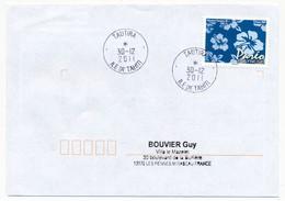 "POLYNESIE FRANCAISE - Enveloppe Affr. Pareo Oblitérée ""TAUTIRA Ile De Tahiti"" 30-12-2011 - Lettres & Documents"