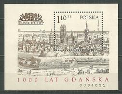 POLAND MNH ** Bloc 139 Millénaire De GDANSK Ancienne Ville - Blocs & Feuillets