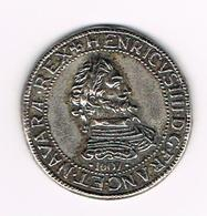 )  PENNING  COLLECTION - BP - HENRI IV  1/2 FRANC  1607 - Elongated Coins