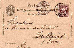 88Fo  Carte Postale Entier 1892 Vevey Poste Restante Receveur à Tullins (38) - Non Classificati