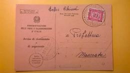 1954 AVVISO DI RICEVIMENTO O PAGAMENTO BOLLO SEGNATASSE - 6. 1946-.. Republik