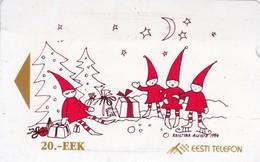 Estonia, ET 023,  Alcatel Christmas Set,  Christmas Tide In The Forest, 2 Scans. - Estonie