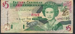 E.C.T.  P26g 5 DOLLARS 1993 Suffix G      VF - Caraïbes Orientales