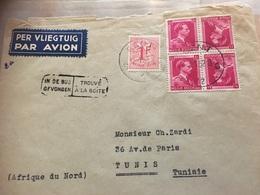Enveloppe De Gand Vers Tunis Avec Bloc De 4 N*528+1027 B - Inverted (tête-bêche)