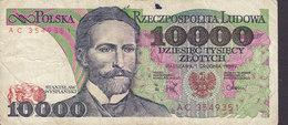 Poland - 10000 Zlotych Stanislaw Wyspianski AC 3549351 Narodowy Bank Polski (2 Scans) - Polen