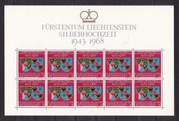 1968 Liechtenstein NOZZE D'ARGENTO  SILVER WEDDING 10 Serie (450) In Foglio MNH** Sheet COAT OF ARMS - Case Reali