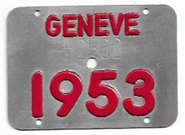 Velonummer Genf Genève GE 53 (defekt) - Plaques D'immatriculation