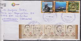 ECUADOR 2014 COVER TO NEDERLANDS GALAPAGOS ISLANDS 3 ADHESIVES STAMPS + STRIP 5 PRESIDENTS - Equateur
