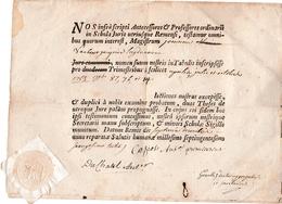 1763 - REIMS - Diplôme De DROIT En Latin Avec Sceau Sous Papier Complet - - Documentos Históricos