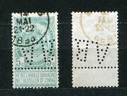 Belgien Nr.80        O  Used       (904) Perfin: A.B. - Lochung