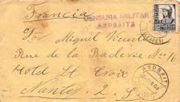 Espagne -  Lettre Affranchie De Andraitx (Baléares) Pour Nantes - Censure Militaire - 1908 - 1889-1931 Königreich: Alphonse XIII.