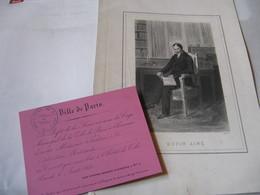 RARE CARTON D'INVITATION HOTEL DE VILLE DE PARIS CONCERT 1851 Fonds DUPIN AINE + PORTRAIT - Autógrafos