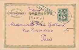 Imprimé Union Postale Universelle Ambulant N°3 Griffe Celigny Bleu Pour Paris - 1882-1906 Armarios, Helvetia De Pie & UPU