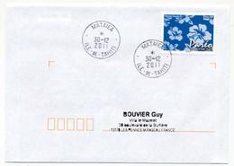 "POLYNESIE FRANCAISE - Enveloppe Affr. Pareo Oblitérée ""MATAIEA Ile-de-Tahiti"" 30-12-2011 - Lettres & Documents"