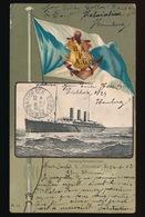HAMBURG - AMERIKA LINIE = S.S; COLUMBIA - BOOTSTEMPEL VOORAAN  1903 - ZIE 2 AFBEELDINGEN - Paquebots