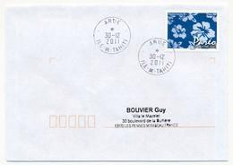 """POLYNESIE FRANCAISE - Enveloppe Affr. Pareo Oblitérée """"ARUE Ile-de-Tahiti"""" 30-12-2011 - Lettres & Documents"""
