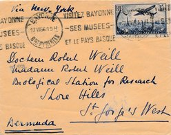 Lettre Bayonne Basses Pyrenees Via New-York Pour Bermuda (Bermude) - 1927-1959 Brieven & Documenten