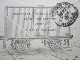 ENVELOPPE à ENTÊTE TRANSPORT DE VINS,CHARLES PELOUX NÎMES & MONTPELLIER Obitérée 26/11/1901 GARE DE NÎMES & PREMERY (58) - Marcophilie (Lettres)