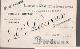 Bordeaux (33 Gironde) Carte LACROIX Fabrique De Manches (PPP14481) - Advertising