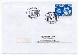 "POLYNESIE FRANCAISE - Enveloppe Affr. Pareo Oblitérée ""MAHINA Ile-de-Tahiti"" 30-12-2011 - Lettres & Documents"