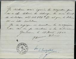 Doc. De GENTINNES  19/04/1950 Sur Avis De Perte D'un Document - Marcophilie