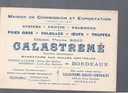 Bordeaux (33 Gironde) Carte CALASTREME Gibiers Fruits Primeurs Etc  (PPP14484) - Publicités