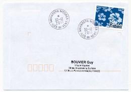 """POLYNESIE FRANCAISE - Enveloppe Affr. Pareo Oblitérée """"MAHAREPA-MOOREA Iles-du-vent"""" 30-12-2011 - Lettres & Documents"""
