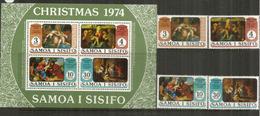 NOËL Aux SAMOA. La Nativité, Tableaux De Rubens,Titien,Sebastiano,etc. Série + Bloc-feuillet Neufs ** - Samoa