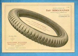 Etablissements BERGOUGNAN - Pubicité Tarifs 1914 - Pneu Le Gaulois - - Publicités