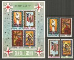 NOËL Aux SAMOA. La Nativité,  Année 1975, . Série + Bloc-feuillet Neufs ** - Samoa