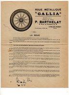 Roue Métallique GALLIA - Barthelat - Levallois Perret - 1912 - 3 Documents + 1 Enveloppe - Pneu Automobile - Publicités