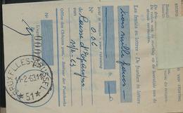 Doc. De BRUXELLES   BRUSSEL  51   Le 11/02/63 - Postmarks With Stars