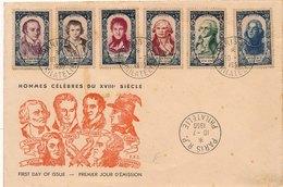 Lettre Premier Jour Hommes Celebres Paris Philatélie First Day Cover - 1950-1959
