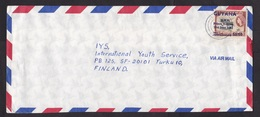 Guyana: Airmail Cover To Finland, 1 Stamp, Value Overprint, Birth Prince William 1982, Rare Real Use! (traces Of Use) - Guyana (1966-...)