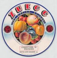 "08298 ""LANA D'ADIGE - BOLZANO - ZUEGG - CONFETTURA DI PRUGNE"" FRUTTA.  ETICHETTA ORIG - Frutta E Verdura"