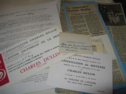 CARTE DE VISITE AUTOGRAPHE DE CHARLES DULLIN 1930 ACTEUR THEATRE METTEUR EN SCENE QUARTEL DES 4 JOUVET BATY PITOEFF - Autographes
