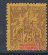 Madagascar N°  39 XX Type Groupe : 75 C. Violet Sur Jaune Sans Charnière, TB - Madagascar (1889-1960)