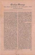 Stefan George (Zum Tode Des Dichters Am 4.Dezember 1933) / Artikel, Entnommen Aus Zeitschrift / 1934 - Bücher, Zeitschriften, Comics