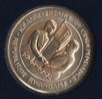 RWANDA 200 FRANCS 1972 FAO 10TH ANNIV. DE L'INDEPENDANCE Argent 800‰ SILVER - Rwanda