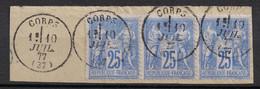 SUPERBE OBLITERATION CAD TYPE 16 De CORPS (ISERE) 1877 Sur TYPE SAGE En BANDE DE 3 À 25c Sur PETIT FRAGMENT - 1876-1898 Sage (Type II)