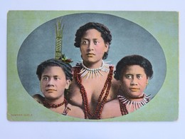C.P.A. : SAMOA, Samoan Girls, Jeunes Filles Aux Seins Nus, Stamp 1910 - Samoa