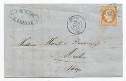 - VOSGES - EPINAL - PC.1186 S/TPND N°13 + Càd Type 15 - PORT LOCAL - 1861 - 1853-1860 Napoleon III
