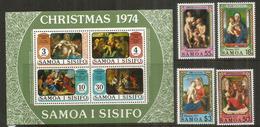 NOËL Aux SAMOA. La Nativité, Tableaux, Années 1990 & 1974  Série + Bloc-feuillet Neufs ** Côte 12,00 Euro - Samoa