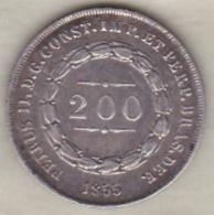 Brésil  200 Reis 1855. Pedro II, En Argent , KM# 469 - Brésil