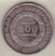 Brésil  200 Reis 1862. Pedro II, En Argent , KM# 469 - Brésil