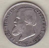 Brésil  200 Reis 1867. Pedro II, En Argent , KM# 471 - Brésil