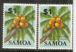 SAMOA , Coconuts, 2 Timbres Neufs ** Inclus $ 1.00 Surchargé UPU Congress - Samoa