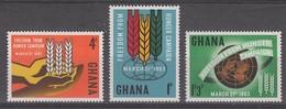 SERIE NEUVE DU GHANA - CAMPAGNE MONDIALE CONTRE LA FAIM N° Y&T 124 A 126 - Contro La Fame